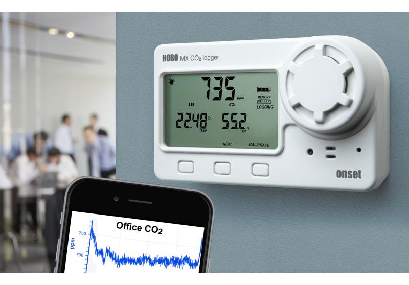HOBO Bluetooth Low Energy Carbon Dioxide - Temp - RH Data Logger MX1102