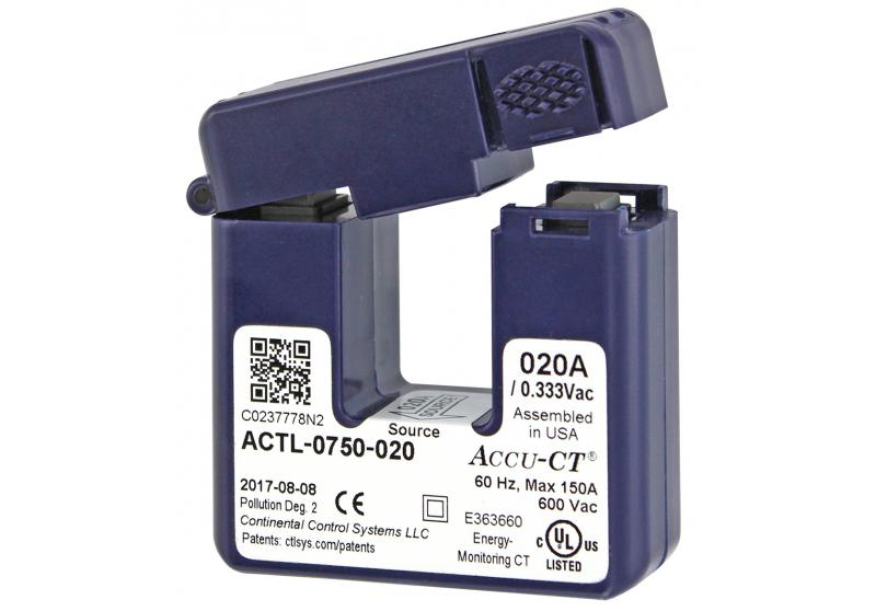 20 Amp Accu-CT Split-Inti Current Transformer 333mV Sensor T-ACT-0750-020